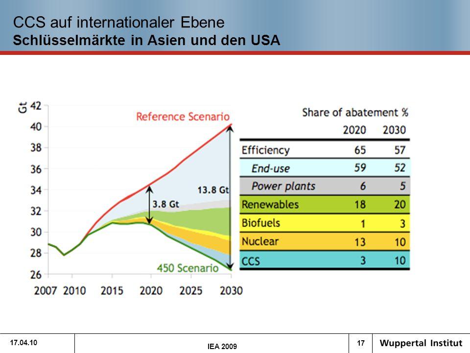 17 17.04.10 CCS auf internationaler Ebene Schlüsselmärkte in Asien und den USA IEA 2009