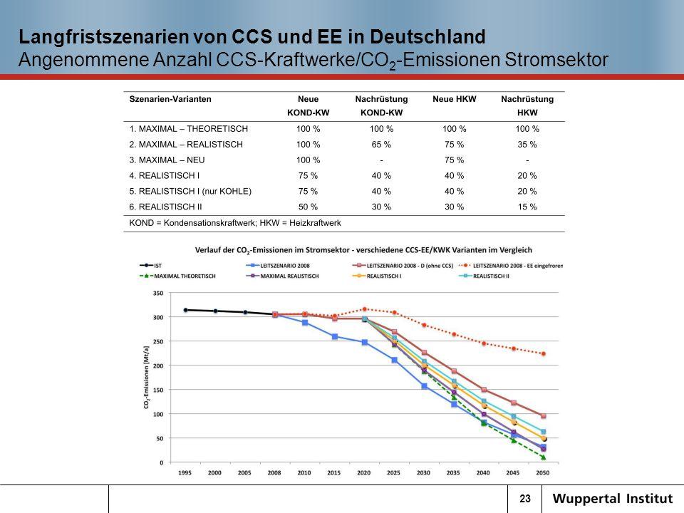 23 Langfristszenarien von CCS und EE in Deutschland Angenommene Anzahl CCS-Kraftwerke/CO 2 -Emissionen Stromsektor