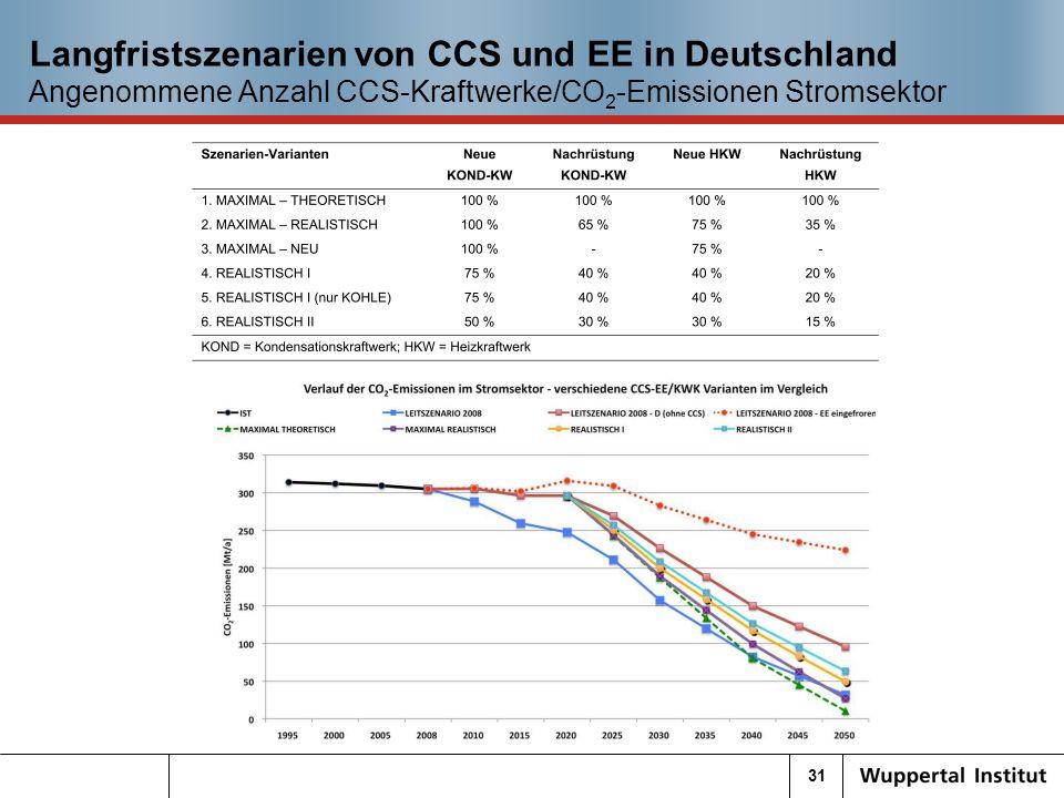 31 Langfristszenarien von CCS und EE in Deutschland Angenommene Anzahl CCS-Kraftwerke/CO 2 -Emissionen Stromsektor