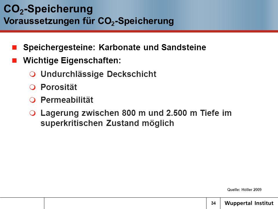34 CO 2 -Speicherung Voraussetzungen für CO 2 -Speicherung Quelle: Höller 2009 Speichergesteine: Karbonate und Sandsteine Wichtige Eigenschaften: Undurchlässige Deckschicht Porosität Permeabilität Lagerung zwischen 800 m und 2.500 m Tiefe im superkritischen Zustand möglich