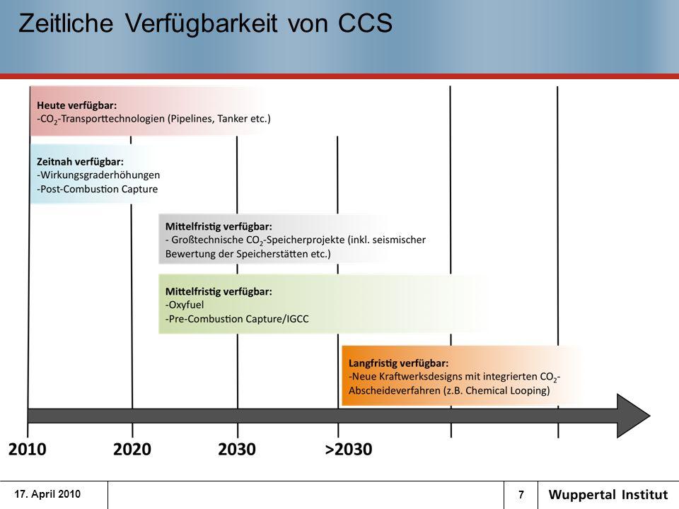 8 Pilot- und Demonstrationsprojekte in Deutschland 17.04.10Quelle: Post Combustion: E.On plant bzw.