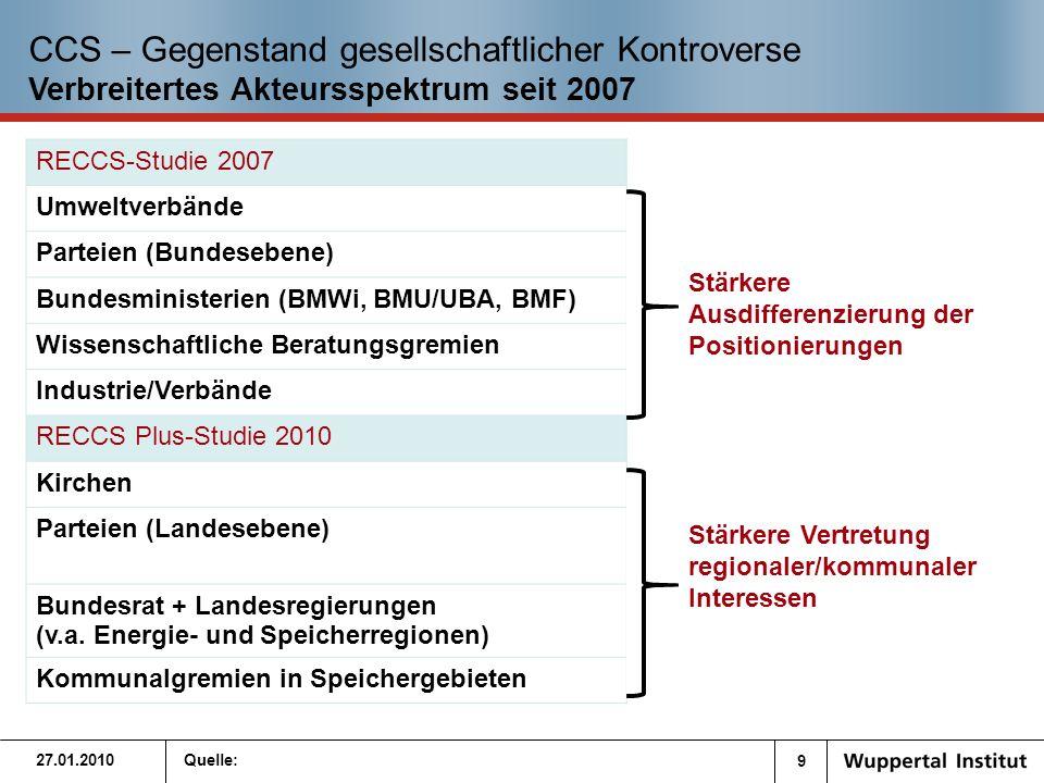 10 Quelle: Aktuelle Akteurskonstellation für CCS in Deutschland 3.4 Treibende Kräfte und Haltung relevanter Gruppen zu CCS 27.01.2010 Positiv Negativ Neutral SPD Bund+ Brdb.