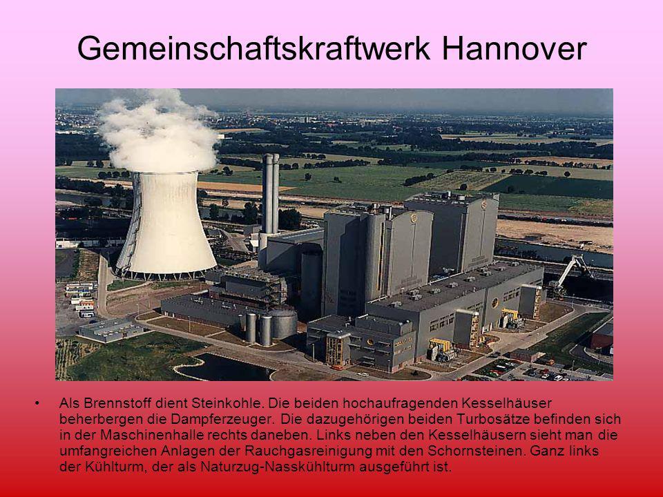 Gemeinschaftskraftwerk Hannover Als Brennstoff dient Steinkohle. Die beiden hochaufragenden Kesselhäuser beherbergen die Dampferzeuger. Die dazugehöri