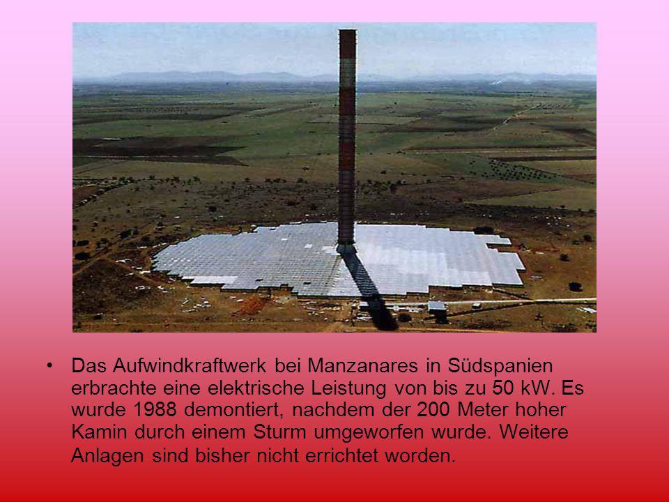 Das Aufwindkraftwerk bei Manzanares in Südspanien erbrachte eine elektrische Leistung von bis zu 50 kW. Es wurde 1988 demontiert, nachdem der 200 Mete
