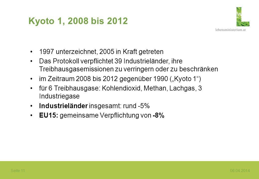 Seite 11 06.04.2014 Kyoto 1, 2008 bis 2012 1997 unterzeichnet, 2005 in Kraft getreten Das Protokoll verpflichtet 39 Industrieländer, ihre Treibhausgas