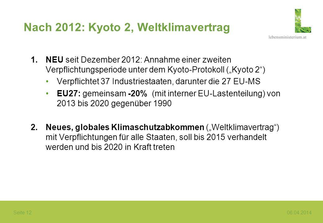 Seite 12 06.04.2014 Nach 2012: Kyoto 2, Weltklimavertrag 1.NEU seit Dezember 2012: Annahme einer zweiten Verpflichtungsperiode unter dem Kyoto-Protoko