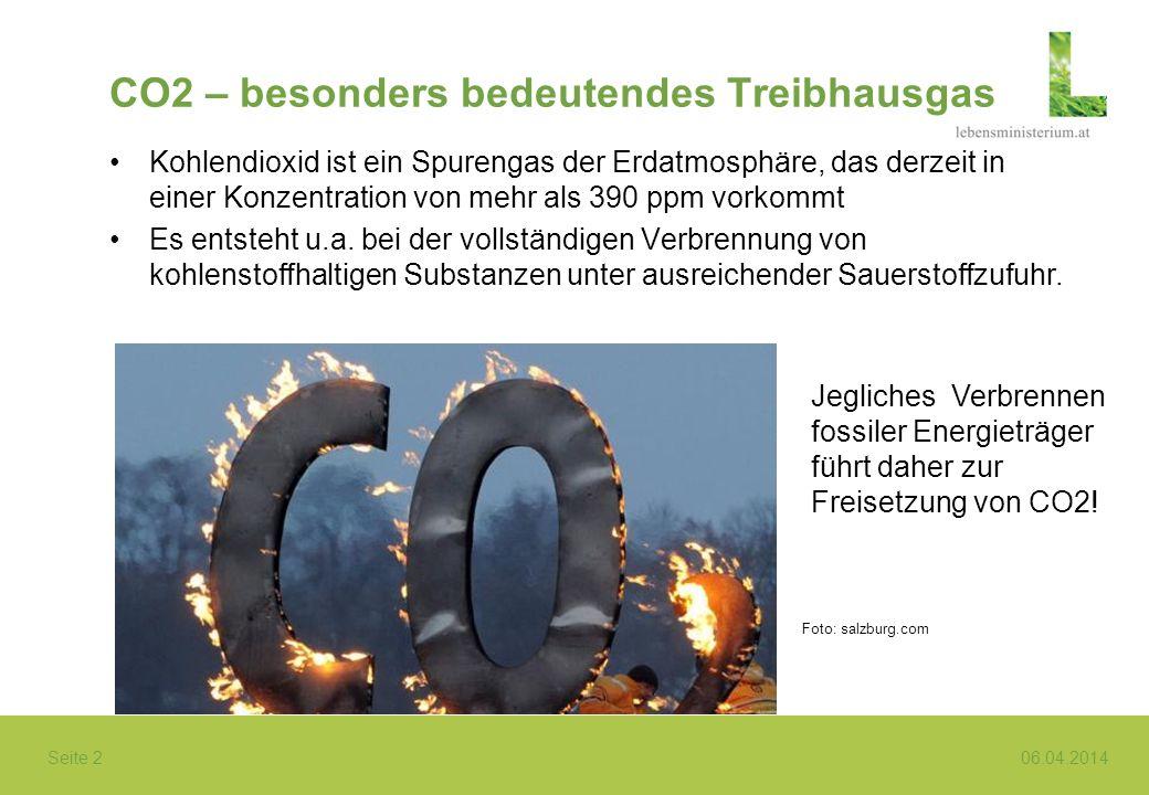 Seite 2 06.04.2014 CO2 – besonders bedeutendes Treibhausgas Kohlendioxid ist ein Spurengas der Erdatmosphäre, das derzeit in einer Konzentration von m