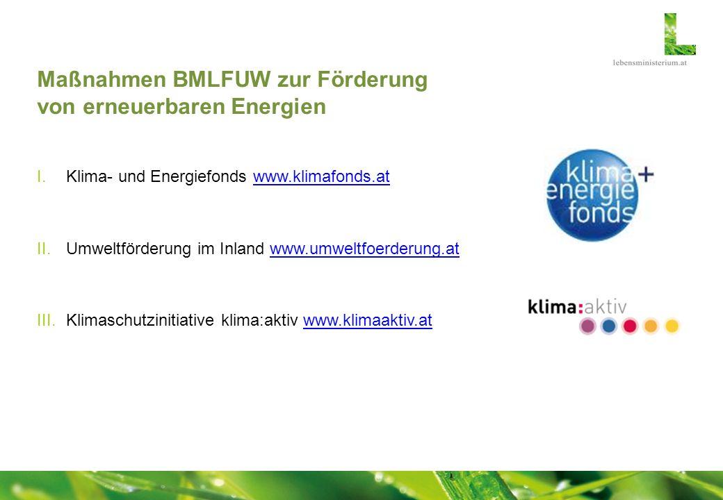Maßnahmen BMLFUW zur Förderung von erneuerbaren Energien I.Klima- und Energiefonds www.klimafonds.atwww.klimafonds.at II.Umweltförderung im Inland www