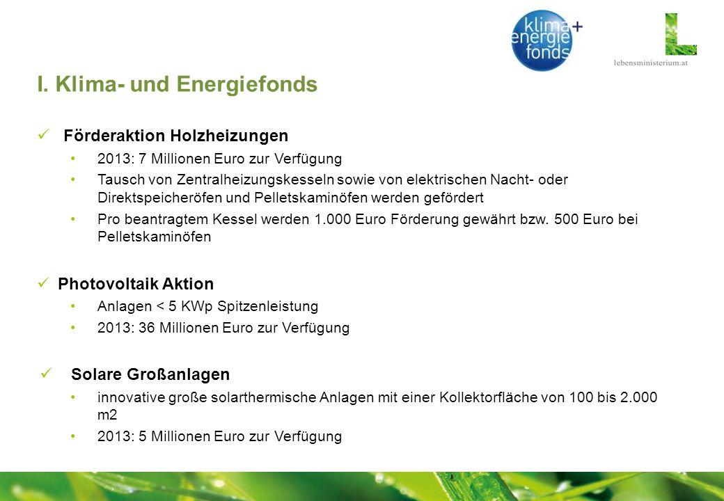 I. Klima- und Energiefonds Förderaktion Holzheizungen 2013: 7 Millionen Euro zur Verfügung Tausch von Zentralheizungskesseln sowie von elektrischen Na