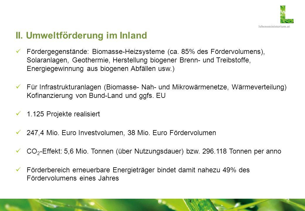 II. Umweltförderung im Inland Fördergegenstände: Biomasse-Heizsysteme (ca. 85% des Fördervolumens), Solaranlagen, Geothermie, Herstellung biogener Bre
