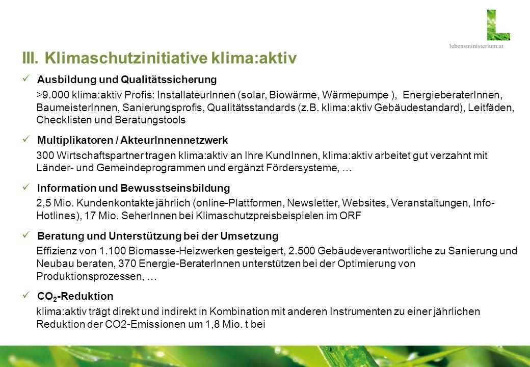 III. Klimaschutzinitiative klima:aktiv Ausbildung und Qualitätssicherung >9.000 klima:aktiv Profis: InstallateurInnen (solar, Biowärme, Wärmepumpe ),