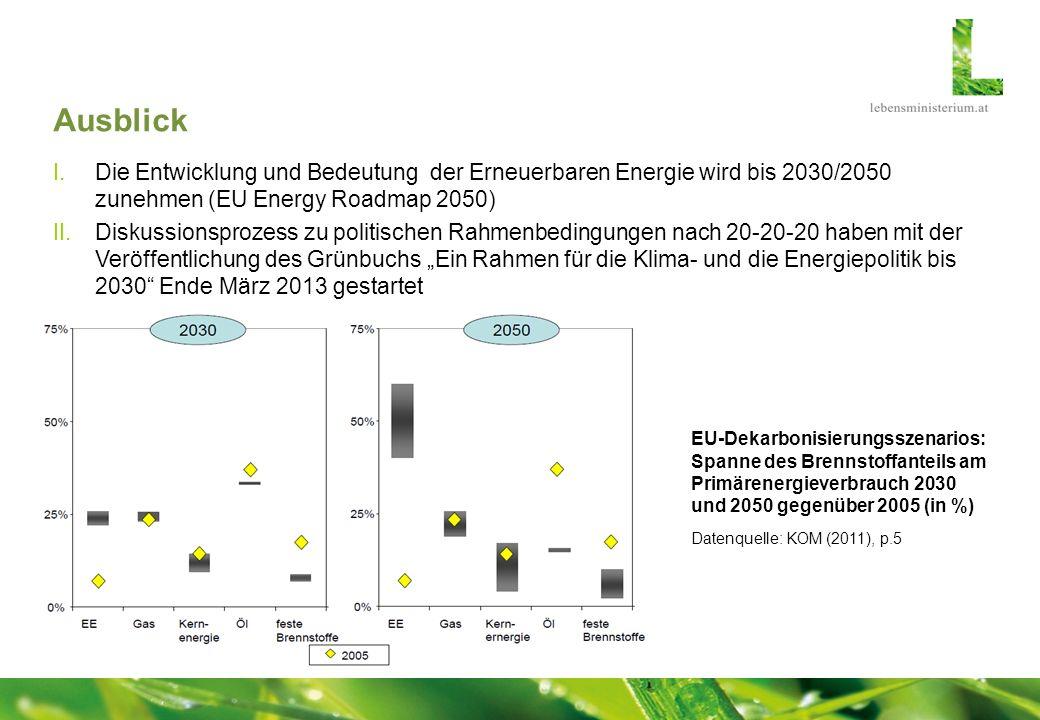 Ausblick I.Die Entwicklung und Bedeutung der Erneuerbaren Energie wird bis 2030/2050 zunehmen (EU Energy Roadmap 2050) II.Diskussionsprozess zu politi