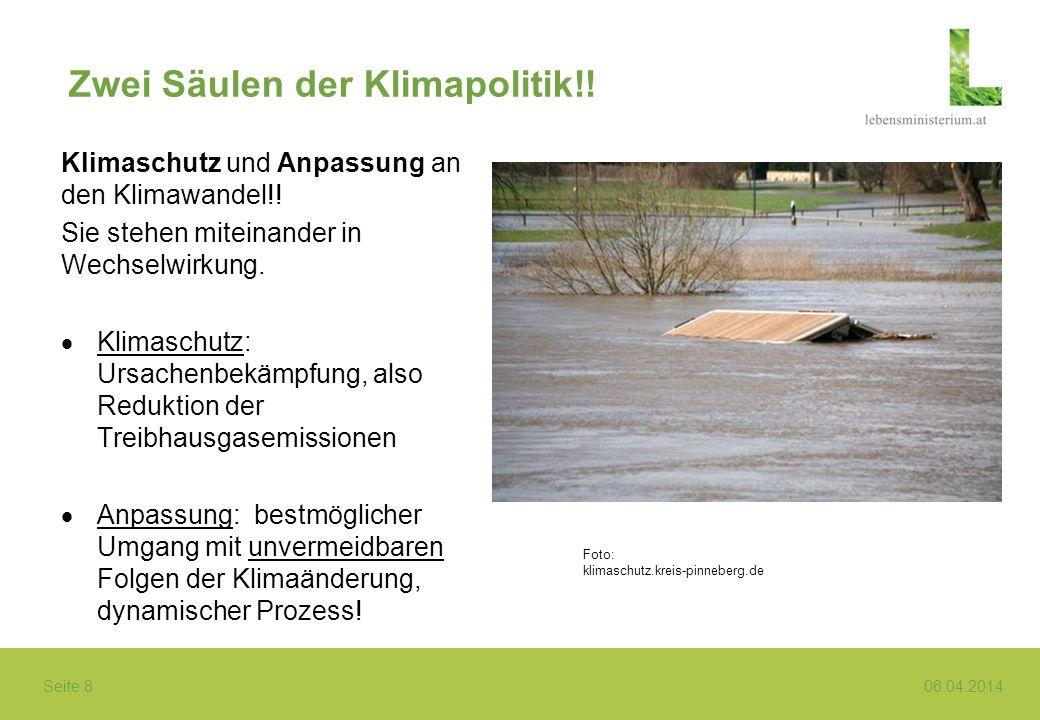 Seite 8 06.04.2014 Zwei Säulen der Klimapolitik!! Klimaschutz und Anpassung an den Klimawandel!! Sie stehen miteinander in Wechselwirkung. Klimaschutz