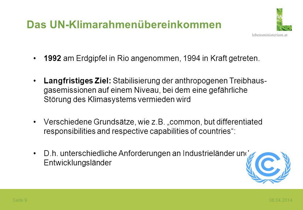 Seite 9 06.04.2014 Das UN-Klimarahmenübereinkommen 1992 am Erdgipfel in Rio angenommen, 1994 in Kraft getreten. Langfristiges Ziel: Stabilisierung der