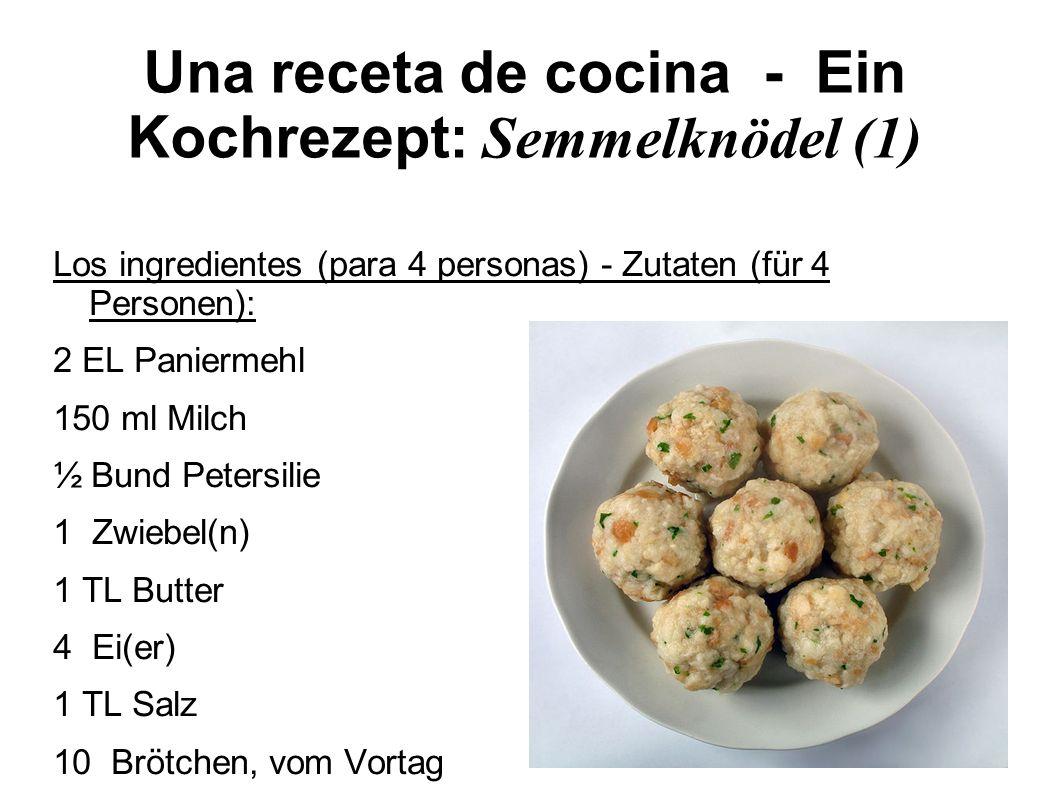 Una receta de cocina - Ein Kochrezept: Semmelknödel (2) La preparación – Zubereitung: Brötchen in Würfel schneiden, mit Salz und den Eiern in eine große Schüssel geben.