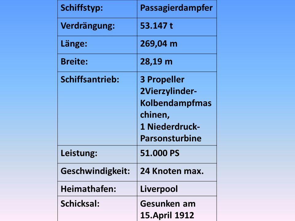 Schiffstyp:Passagierdampfer Verdrängung:53.147 t Länge:269,04 m Breite:28,19 m Schiffsantrieb:3 Propeller 2Vierzylinder- Kolbendampfmas chinen, 1 Niederdruck- Parsonsturbine Leistung:51.000 PS Geschwindigkeit:24 Knoten max.