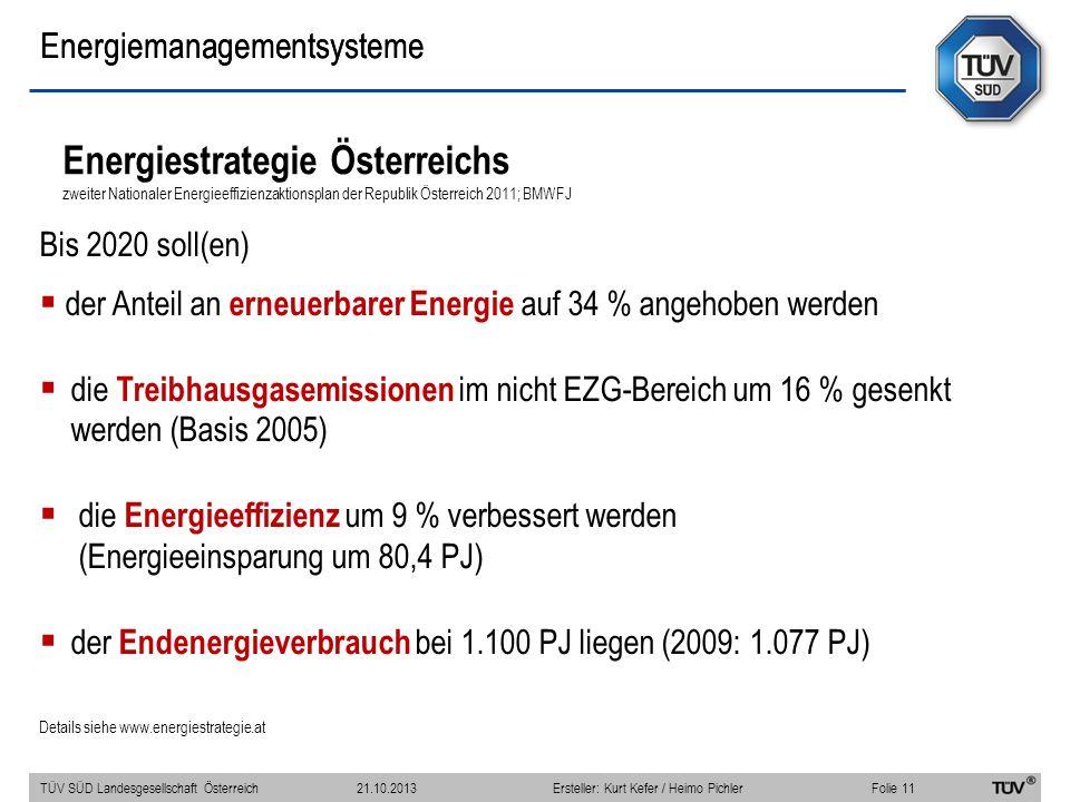 Energiestrategie Österreichs zweiter Nationaler Energieeffizienzaktionsplan der Republik Österreich 2011; BMWFJ Bis 2020 soll(en) der Anteil an erneuerbarer Energie auf 34 % angehoben werden die Treibhausgasemissionen im nicht EZG-Bereich um 16 % gesenkt werden (Basis 2005) die Energieeffizienz um 9 % verbessert werden (Energieeinsparung um 80,4 PJ) der Endenergieverbrauch bei 1.100 PJ liegen (2009: 1.077 PJ) Details siehe www.energiestrategie.at TÜV SÜD Landesgesellschaft Österreich Folie 11 21.10.2013Ersteller: Kurt Kefer / Heimo Pichler Energiemanagementsysteme