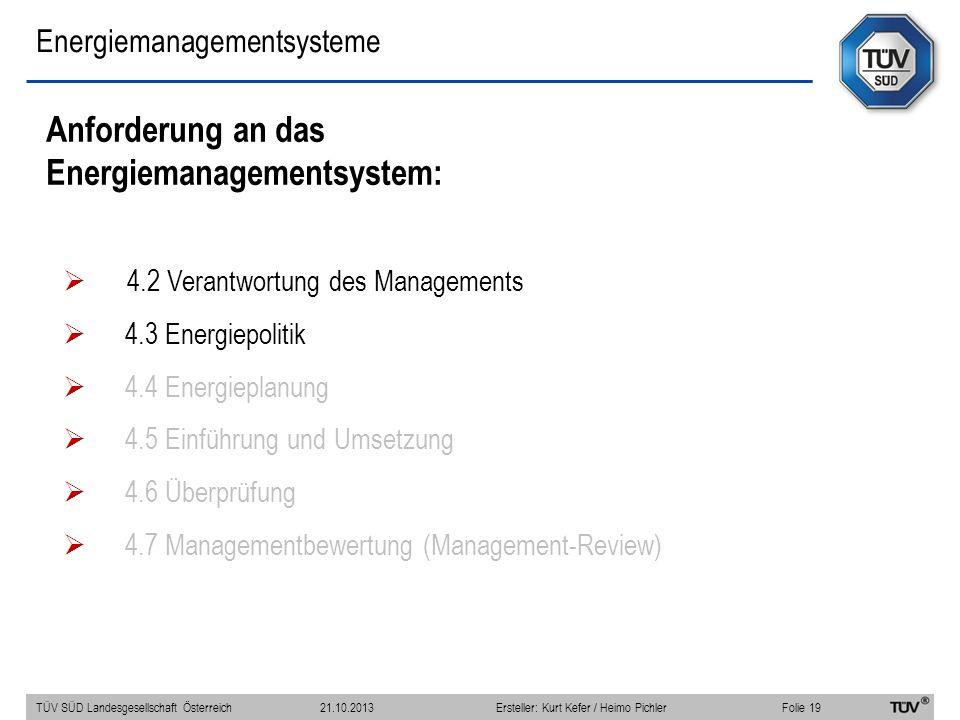 Energiemanagementsysteme Anforderung an das Energiemanagementsystem: 4.2 Verantwortung des Managements 4.3 Energiepolitik 4.4 Energieplanung 4.5 Einfü