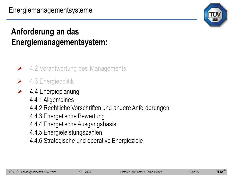 Energiemanagementsysteme Anforderung an das Energiemanagementsystem: 4.2 Verantwortung des Managements 4.3 Energiepolitik 4.4 Energieplanung 4.4.1 All