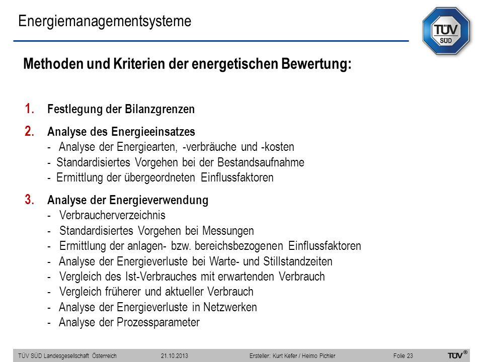 Energiemanagementsysteme Methoden und Kriterien der energetischen Bewertung: 1. Festlegung der Bilanzgrenzen 2. Analyse des Energieeinsatzes - Analyse