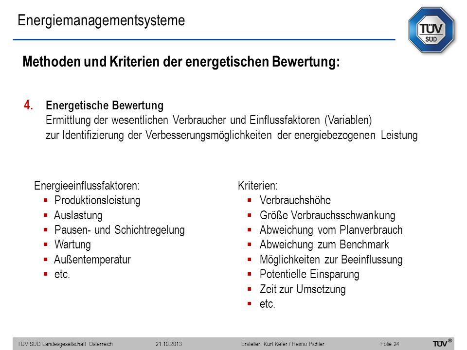 Energiemanagementsysteme Methoden und Kriterien der energetischen Bewertung: 4. Energetische Bewertung Ermittlung der wesentlichen Verbraucher und Ein