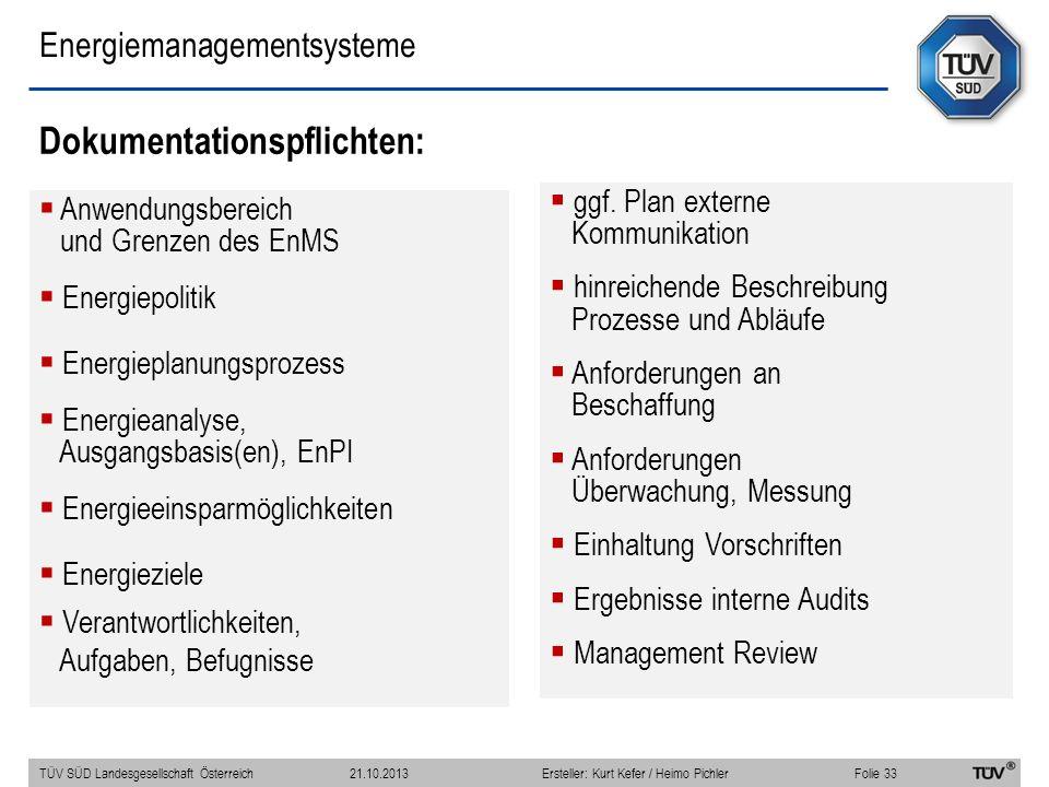 Energiemanagementsysteme Dokumentationspflichten: Anwendungsbereich und Grenzen des EnMS Energiepolitik Energieplanungsprozess Energieanalyse, Ausgangsbasis(en), EnPI Energieeinsparmöglichkeiten Energieziele Verantwortlichkeiten, Aufgaben, Befugnisse ggf.
