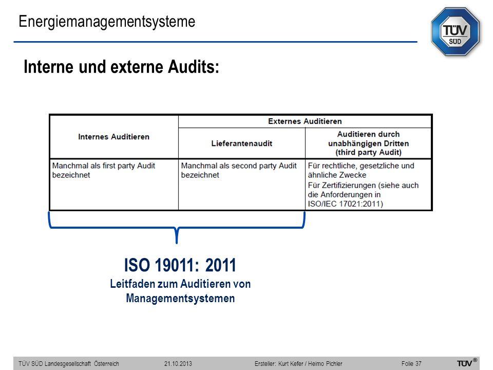 Energiemanagementsysteme Interne und externe Audits: TÜV SÜD Landesgesellschaft Österreich Folie 37 21.10.2013Ersteller: Kurt Kefer / Heimo Pichler ISO 19011: 2011 Leitfaden zum Auditieren von Managementsystemen