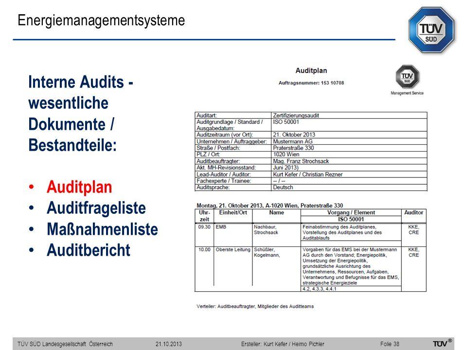 Energiemanagementsysteme Interne Audits - wesentliche Dokumente / Bestandteile: Auditplan Auditfrageliste Maßnahmenliste Auditbericht TÜV SÜD Landesgesellschaft Österreich Folie 38 21.10.2013Ersteller: Kurt Kefer / Heimo Pichler