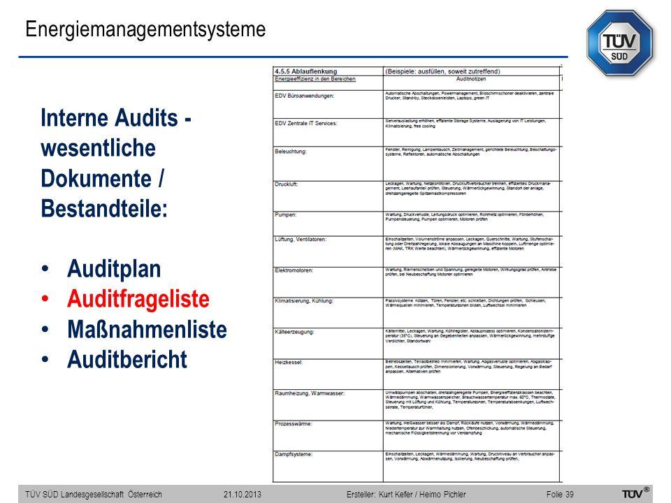 Energiemanagementsysteme Interne Audits - wesentliche Dokumente / Bestandteile: Auditplan Auditfrageliste Maßnahmenliste Auditbericht TÜV SÜD Landesgesellschaft Österreich Folie 39 21.10.2013Ersteller: Kurt Kefer / Heimo Pichler