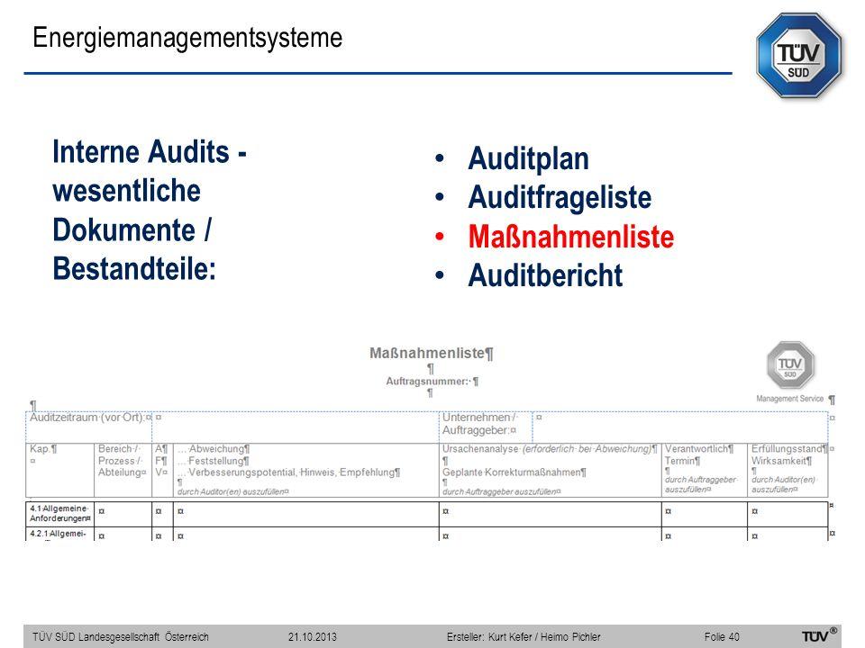 Energiemanagementsysteme Interne Audits - wesentliche Dokumente / Bestandteile: TÜV SÜD Landesgesellschaft Österreich Folie 40 21.10.2013Ersteller: Ku