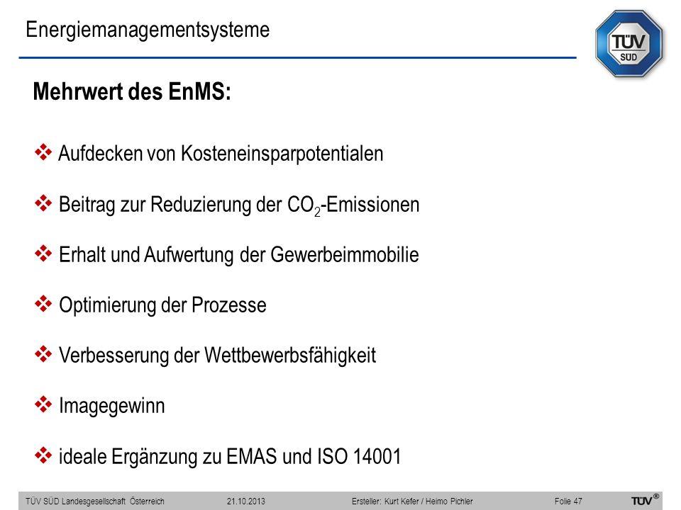 Energiemanagementsysteme Mehrwert des EnMS: Aufdecken von Kosteneinsparpotentialen Beitrag zur Reduzierung der CO 2 -Emissionen Erhalt und Aufwertung