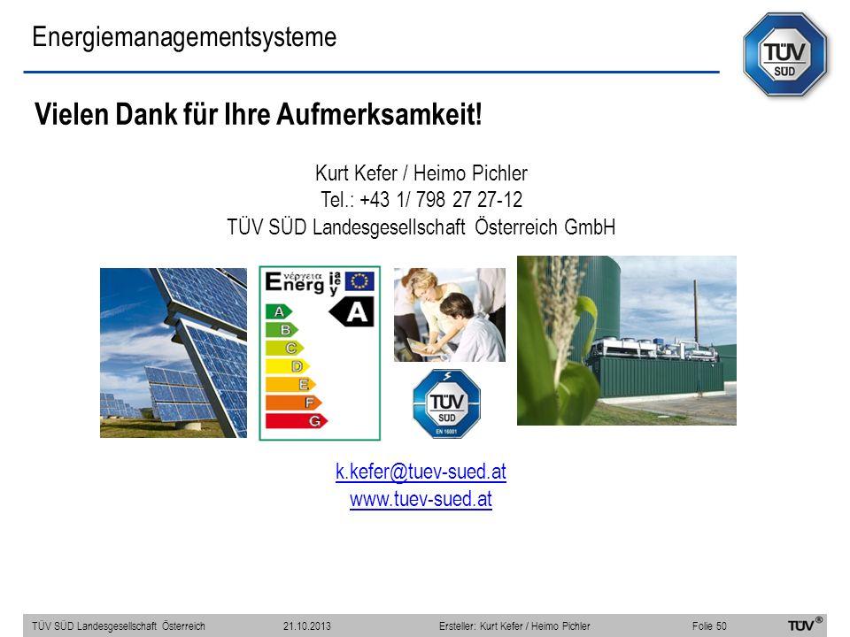 Energiemanagementsysteme Vielen Dank für Ihre Aufmerksamkeit! Kurt Kefer / Heimo Pichler Tel.: +43 1/ 798 27 27-12 TÜV SÜD Landesgesellschaft Österrei