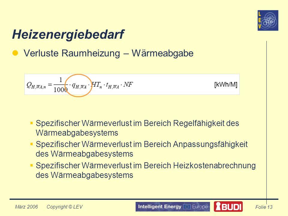 Copyright © LEV März 2006 Folie 13 Heizenergiebedarf Verluste Raumheizung – Wärmeabgabe Spezifischer Wärmeverlust im Bereich Regelfähigkeit des Wärmeabgabesystems Spezifischer Wärmeverlust im Bereich Anpassungsfähigkeit des Wärmeabgabesystems Spezifischer Wärmeverlust im Bereich Heizkostenabrechnung des Wärmeabgabesystems