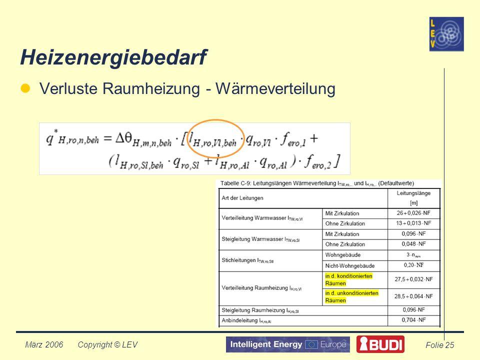 Copyright © LEV März 2006 Folie 25 Heizenergiebedarf Verluste Raumheizung - Wärmeverteilung