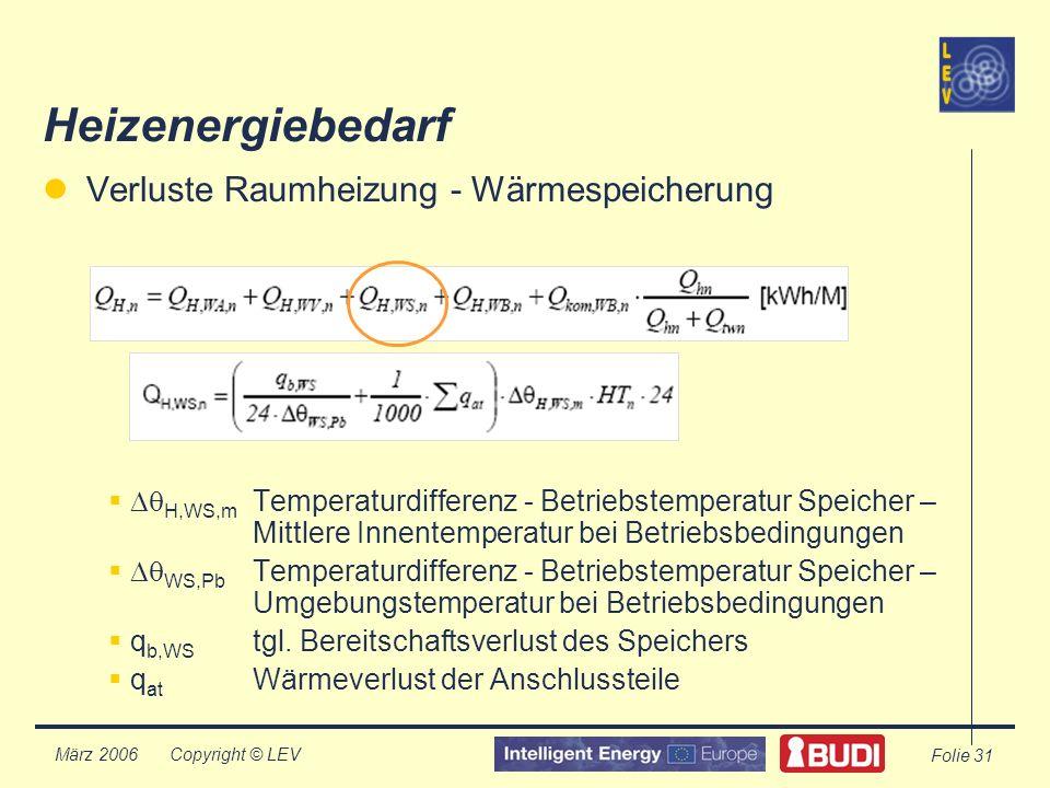Copyright © LEV März 2006 Folie 31 Heizenergiebedarf Verluste Raumheizung - Wärmespeicherung H,WS,m Temperaturdifferenz - Betriebstemperatur Speicher – Mittlere Innentemperatur bei Betriebsbedingungen WS,Pb Temperaturdifferenz - Betriebstemperatur Speicher – Umgebungstemperatur bei Betriebsbedingungen q b,WS tgl.