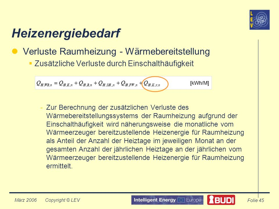 Copyright © LEV März 2006 Folie 45 Heizenergiebedarf Verluste Raumheizung - Wärmebereitstellung Zusätzliche Verluste durch Einschalthäufigkeit -Zur Berechnung der zusätzlichen Verluste des Wärmebereitstellungssystems der Raumheizung aufgrund der Einschalthäufigkeit wird näherungsweise die monatliche vom Wärmeerzeuger bereitzustellende Heizenergie für Raumheizung als Anteil der Anzahl der Heiztage im jeweiligen Monat an der gesamten Anzahl der jährlichen Heiztage an der jährlichen vom Wärmeerzeuger bereitzustellende Heizenergie für Raumheizung ermittelt.