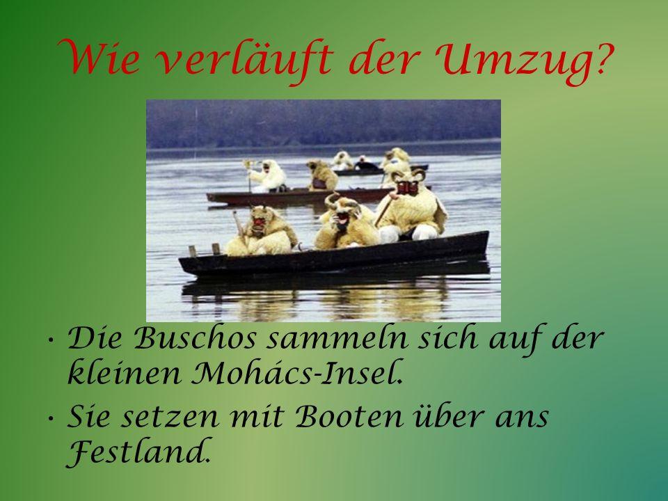 Wie verläuft der Umzug? Die Buschos sammeln sich auf der kleinen Mohács-Insel. Sie setzen mit Booten über ans Festland.