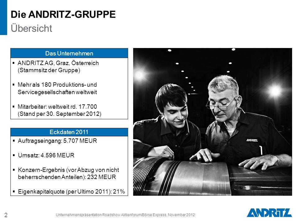 2 Unternehmenspräsentation Roadshow Aktienforum/Börse Express, November 2012 Das Unternehmen ANDRITZ AG, Graz, Österreich (Stammsitz der Gruppe) Mehr als 180 Produktions- und Servicegesellschaften weltweit Mitarbeiter: weltweit rd.