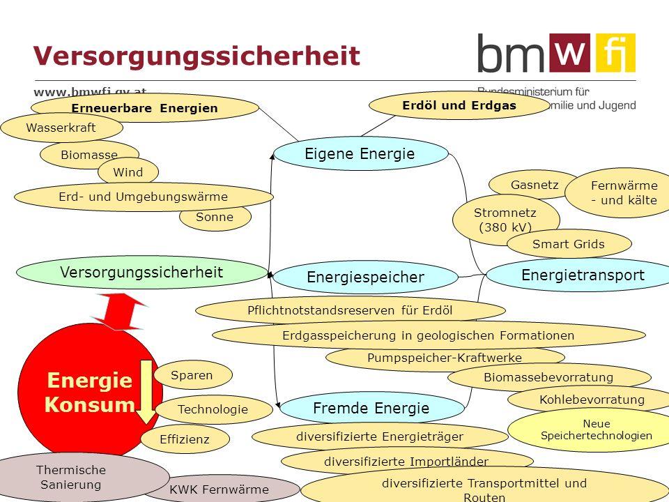 www.bmwfj.gv.at 11 Energie Konsum Versorgungssicherheit Eigene Energie Fremde Energie Energiespeicher Energietransport Versorgungssicherheit Effizienz