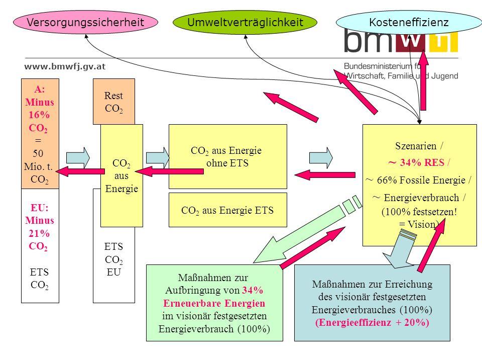 www.bmwfj.gv.at EU: Minus 21% CO 2 ETS CO 2 ETS CO 2 EU A: Minus 16% CO 2 = 50 Mio. t. CO 2 CO 2 aus Energie Rest CO 2 CO 2 aus Energie ohne ETS Szena