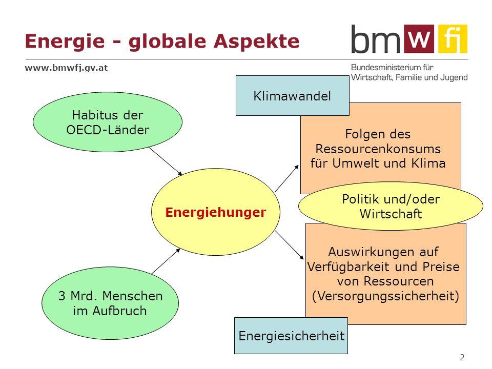 www.bmwfj.gv.at 2 Energie - globale Aspekte Energiehunger Habitus der OECD-Länder 3 Mrd. Menschen im Aufbruch Folgen des Ressourcenkonsums für Umwelt