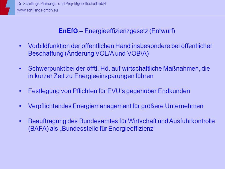 Dr. Schillings Planungs- und Projektgesellschaft mbH www.schillings-gmbh.eu EnEfG – Energieeffizienzgesetz (Entwurf) Vorbildfunktion der öffentlichen