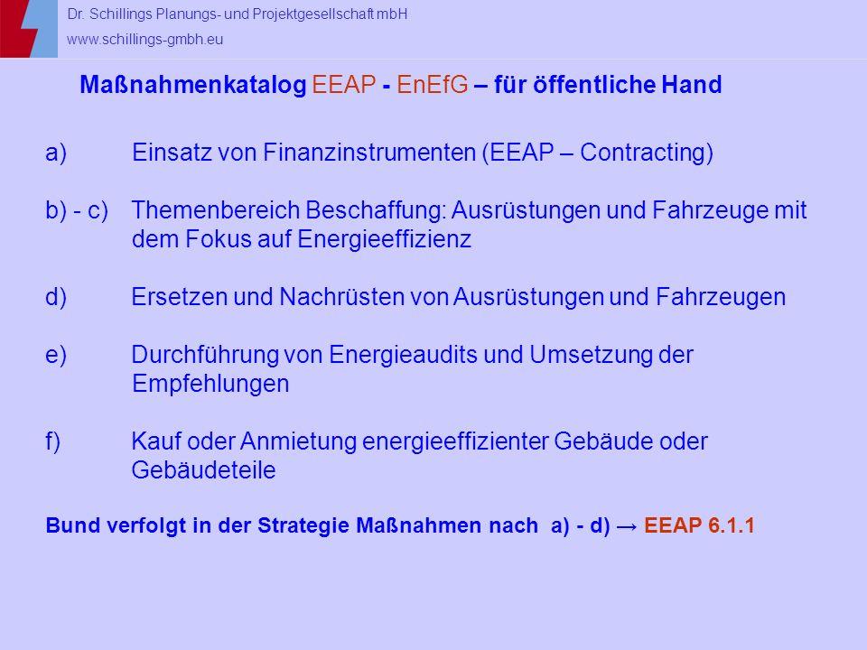 Dr. Schillings Planungs- und Projektgesellschaft mbH www.schillings-gmbh.eu Maßnahmenkatalog EEAP - EnEfG – für öffentliche Hand a)Einsatz von Finanzi