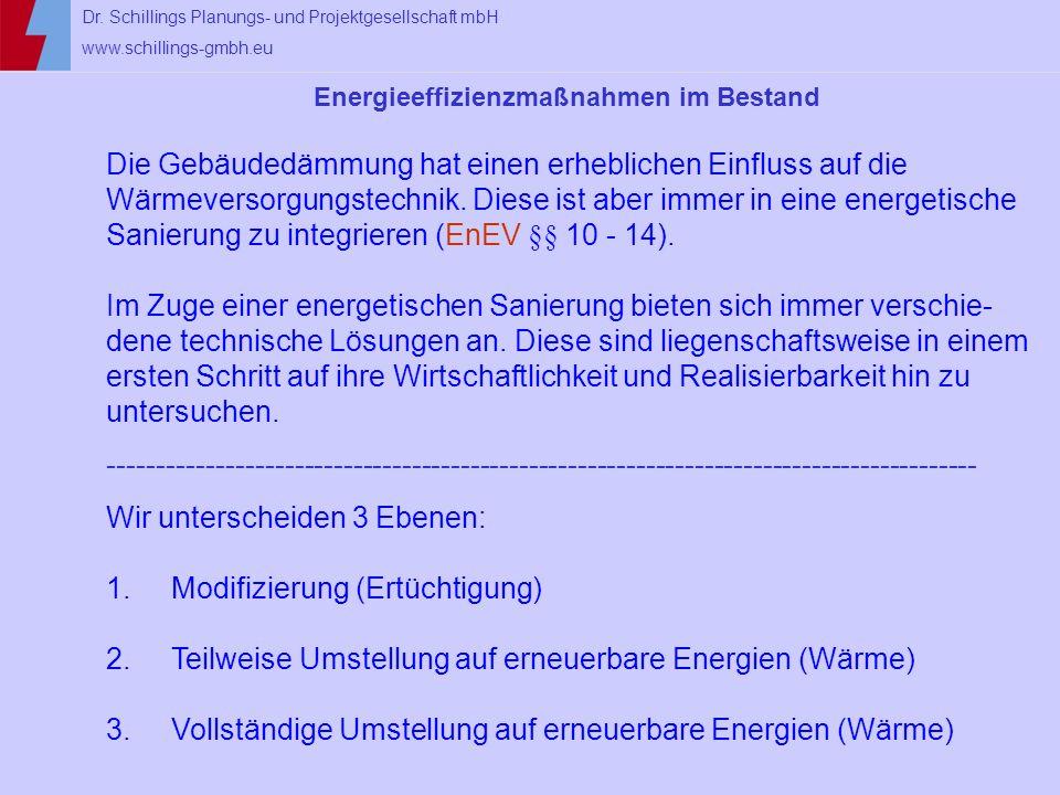 Dr. Schillings Planungs- und Projektgesellschaft mbH www.schillings-gmbh.eu Energieeffizienzmaßnahmen im Bestand Die Gebäudedämmung hat einen erheblic