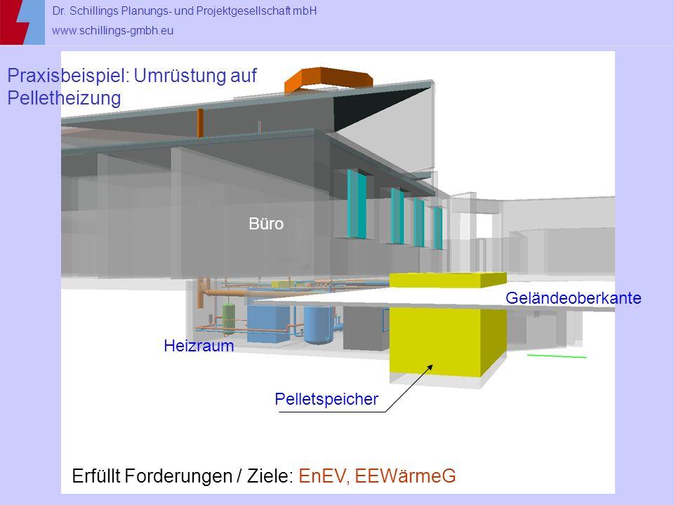 Dr. Schillings Planungs- und Projektgesellschaft mbH www.schillings-gmbh.eu Pelletspeicher Geländeoberkante Heizraum Büro Praxisbeispiel: Umrüstung au