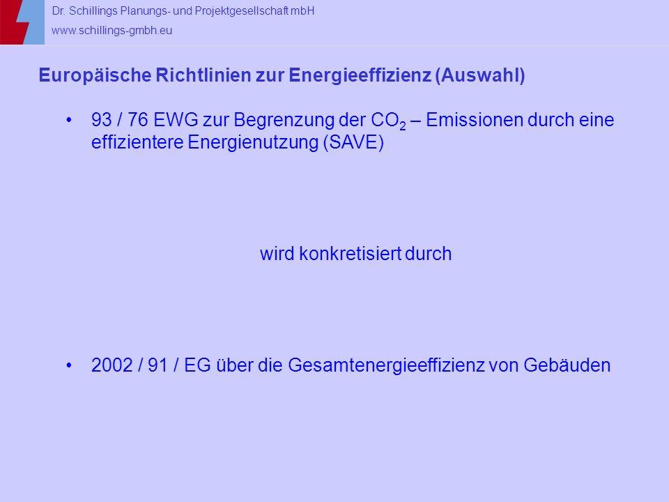 Dr. Schillings Planungs- und Projektgesellschaft mbH www.schillings-gmbh.eu Europäische Richtlinien zur Energieeffizienz (Auswahl) 93 / 76 EWG zur Beg