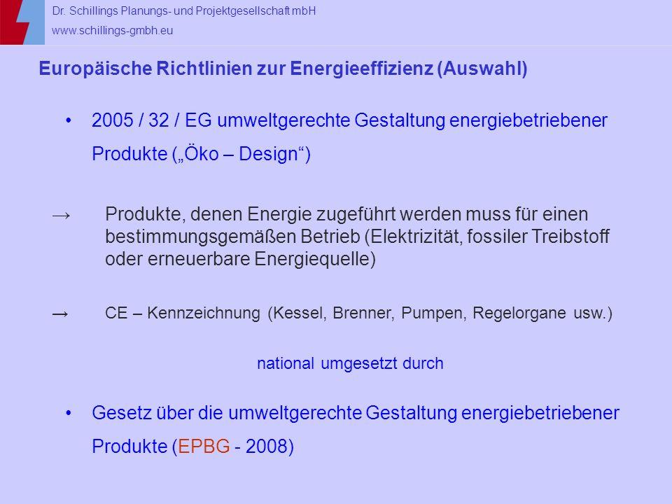 Dr. Schillings Planungs- und Projektgesellschaft mbH www.schillings-gmbh.eu Europäische Richtlinien zur Energieeffizienz (Auswahl) 2005 / 32 / EG umwe