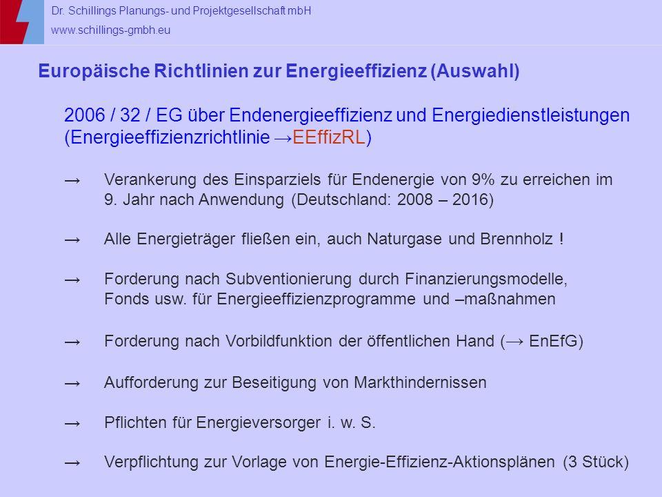 Dr. Schillings Planungs- und Projektgesellschaft mbH www.schillings-gmbh.eu Europäische Richtlinien zur Energieeffizienz (Auswahl) 2006 / 32 / EG über