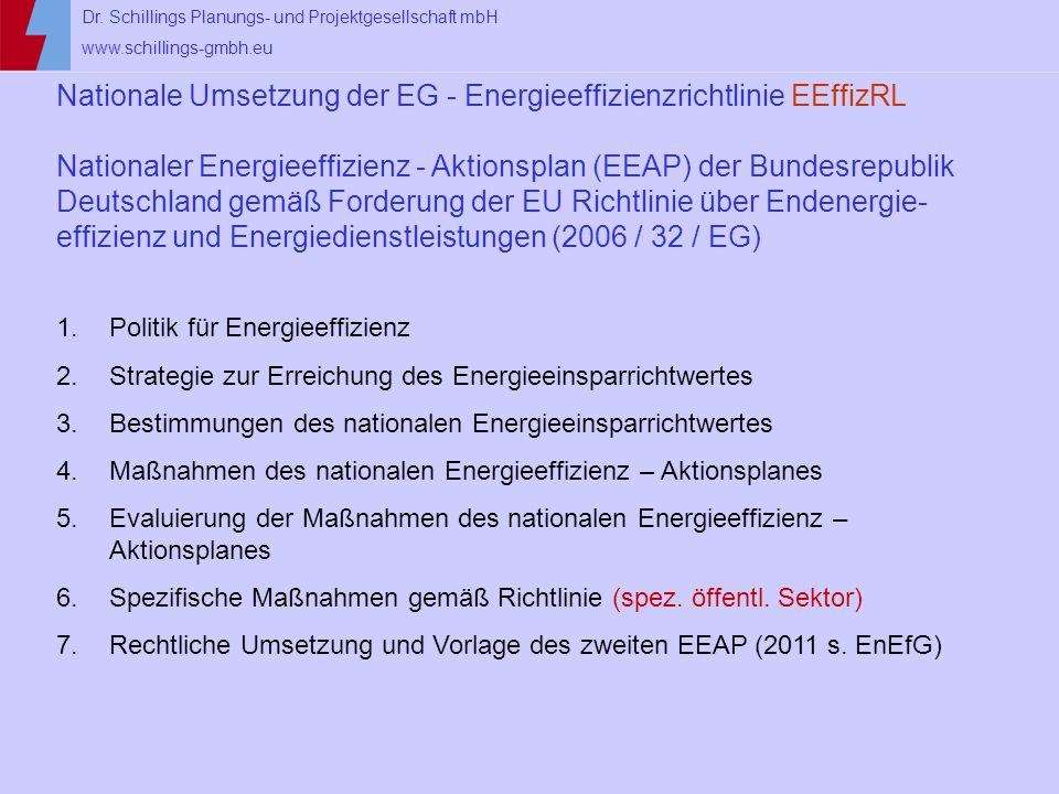 Dr. Schillings Planungs- und Projektgesellschaft mbH www.schillings-gmbh.eu Nationale Umsetzung der EG - Energieeffizienzrichtlinie EEffizRL Nationale