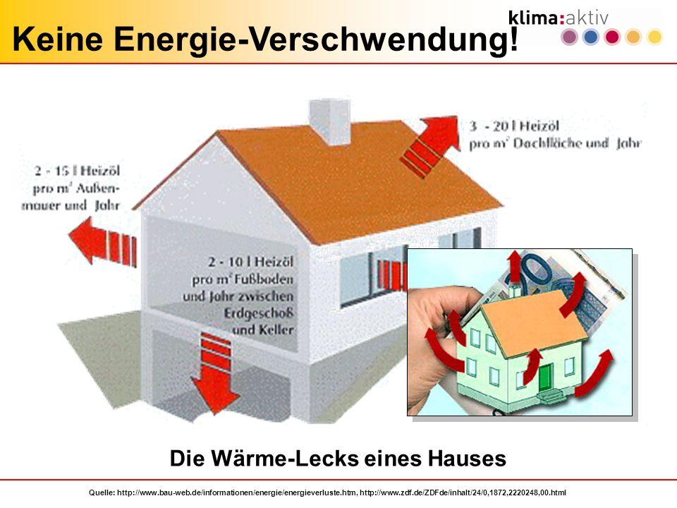 Keine Energie-Verschwendung! Die Wärme-Lecks eines Hauses Quelle: http://www.bau-web.de/informationen/energie/energieverluste.htm, http://www.zdf.de/Z